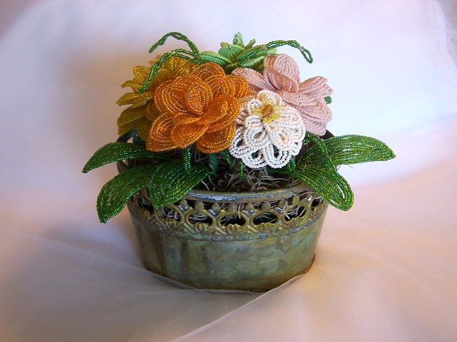 beaded flower arrangement flickr photo