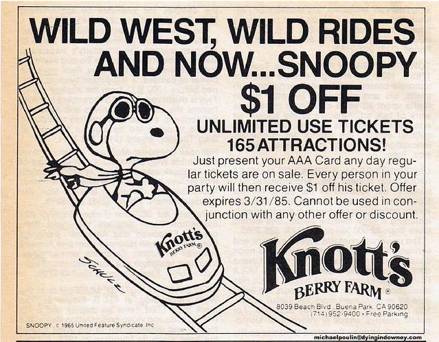 1984 Knott's ad Garage Sale Saturdays scan