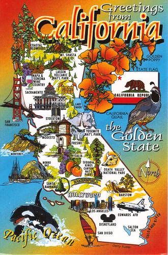 California Map Cartoon.California State Cartoon Map Postcard Show The Map Card Yo Flickr