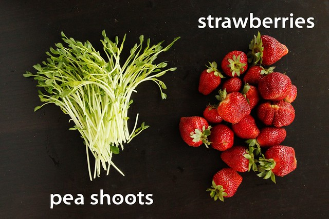 csa share 05/19/11 | pea shoots and strawberries littleblueh ...