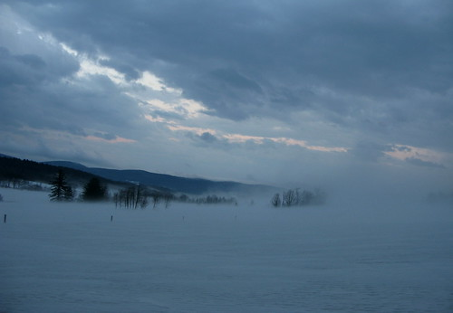 sunset snow fog clouds evening vermont foggy steam thaw vt randolphcenter canong9