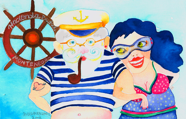 an old sailor and his sweety / illustration friday- sail/