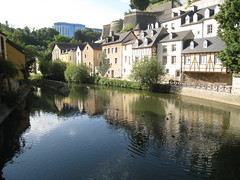 river, estate, reflection, canal, pond, waterway, moat,