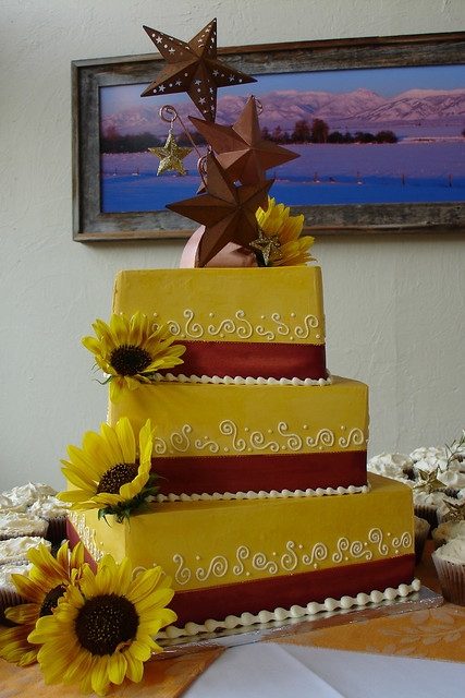 Bold colors fall wedding cake Lemon cake with lemon italian buttercream
