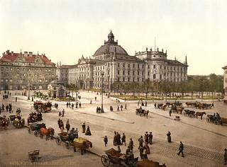 Karlsplatz (Stachus), view towards Justizpalast, Munich, Bavaria, ca. 1895