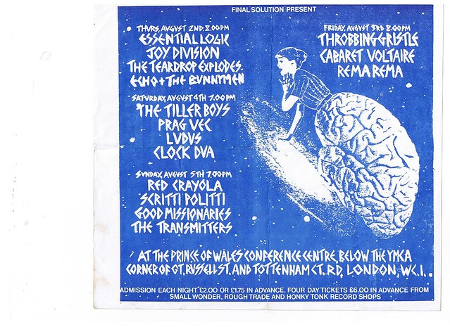Joy Division, Rema Rema, Teardrop Explodes, Ludus, Echo & The Bunnymen, Red Crayola, Throbbing Gristle, Cabaret Voltaire, Clock DVA, Essential Logic, etc.at the YMCA London: 1979 Gigs!