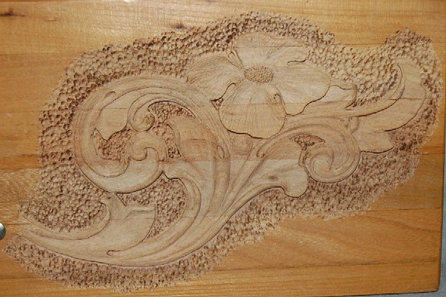 Acanthus pattern carved in shallow relief on wood flickr