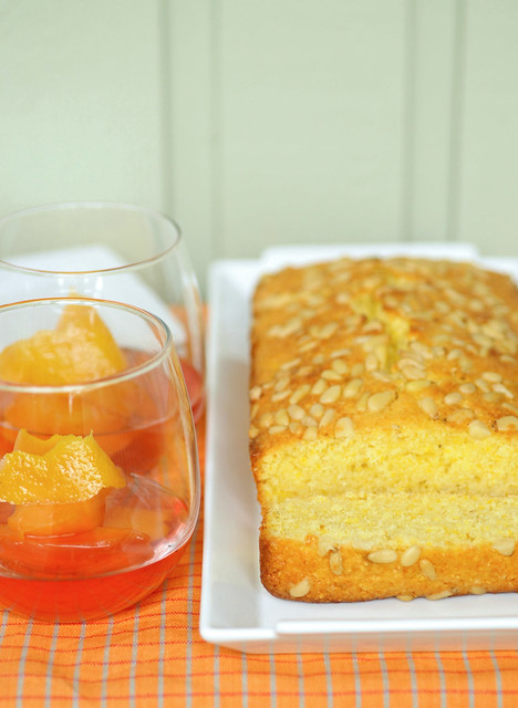 Polenta pound cake with nectarines poached in vanilla syrup