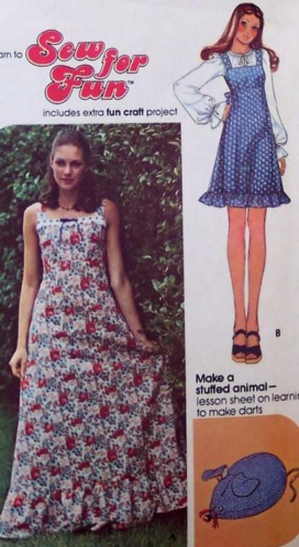 Vintage McCalls Pattern 4375 Boho Hippie Empire Waist Long short dress jumper sundress stuffed animal 70s womens size 8 bust 31 32