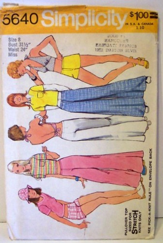 "Vintage Simplicity 5640 70s Mod Pattern with Halter Top Pullover Top Bell Bottom Hip Hugger Pants or Short.""bell bottoms"","