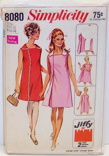 Vintage Simplicity Pattern 8080 womens Size 16 Wrap Around Three Armhole Dress 60s Mod Size 16 Bust 38 Waist 29 Hip 40