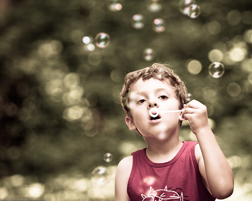 Boy, Bubbles, Bokeh