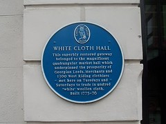 Photo of White Cloth Hall blue plaque