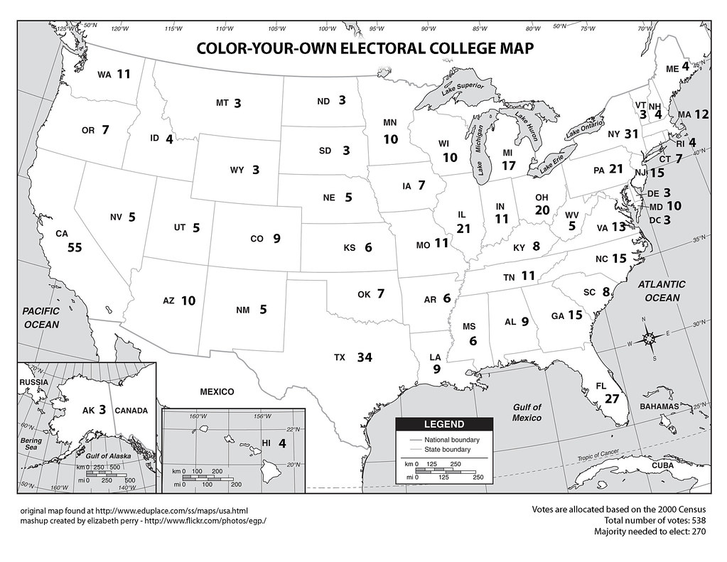 Playful image regarding printable electoral map