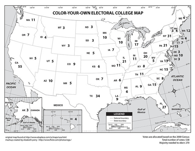 Blank Electoral College Map