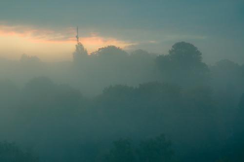 street blue fog sunrise germany thüringen rustic thuringia vale tranquil suhl 1star albrechts lengberg