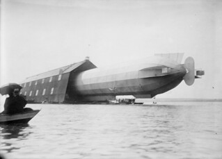 Zeppelin LZ-5 before launch, Manzell, Lake Constance, Germany, 1909