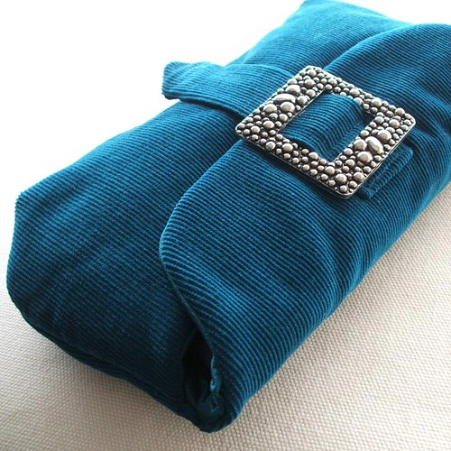 teal and silver mercury clutch purse