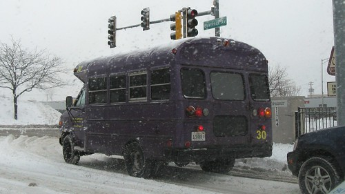 Plum services bus in a snow storm. Harwood Heights Illinois. Thursday, December 18th, 2008. by Eddie from Chicago