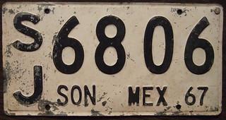 MEXICO, SONORA 1966/67 private truck plate