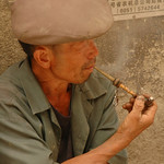 Man Smoking Pipe - Guizhou Province, China