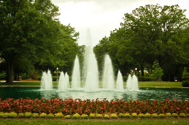 The Fountains you see as you drive into campus