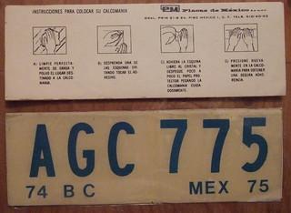 MEXICO, BAJA CALIFORNIA 1974-75 WINDSHIELD STICKER plate PASSENGER CAR
