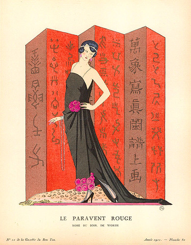 art deco george barbier gazette du bon ton le paravent rouge 1921. Black Bedroom Furniture Sets. Home Design Ideas