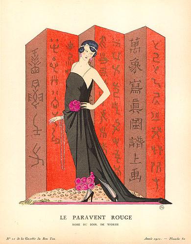 art deco george barbier gazette du bon ton le paravent rouge 1921. Black Bedroom Furniture Sets. Home Design Ideas