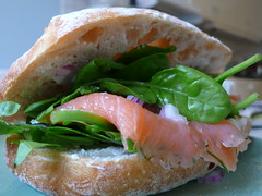 salmon-like fish(0.0), fish(0.0), bruschetta(0.0), prosciutto(0.0), sandwich(1.0), meal(1.0), lunch(1.0), salmon(1.0), breakfast(1.0), fish(1.0), ciabatta(1.0), bã¡nh mã¬(1.0), produce(1.0), food(1.0), dish(1.0), cuisine(1.0), smoked salmon(1.0),
