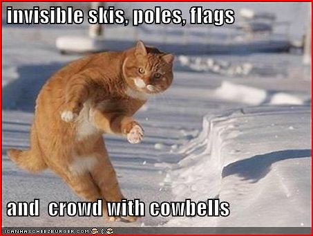 invisible skis, poles, flags and crowd with cowbells