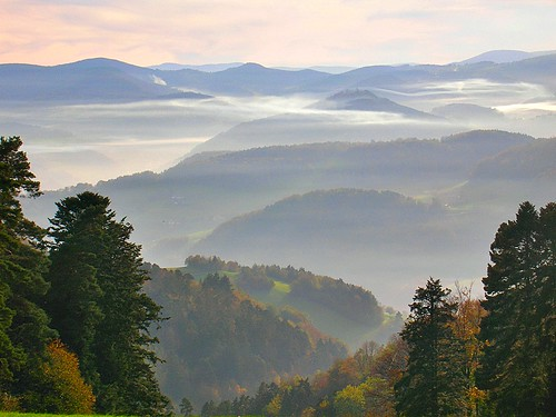 The massif of Vosges in autumn