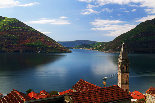 Montenegro. View on Bay of Kotor from Perast.