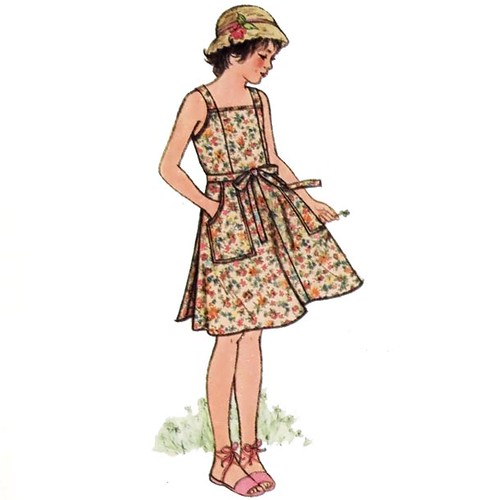 Vintage 1980's girl's summer wrap jumper dress sewing pattern