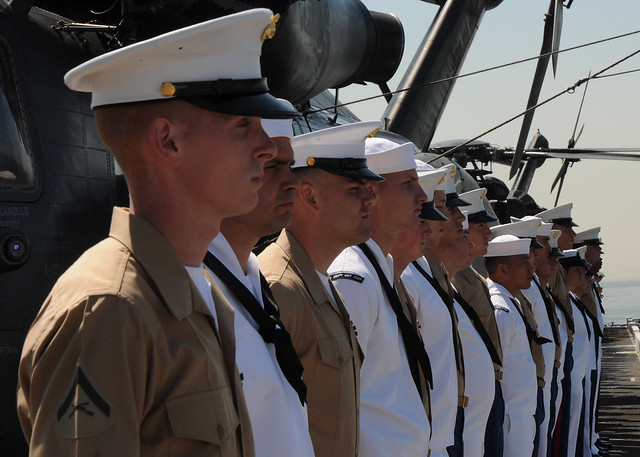 USS Iwo Jima  Sailors and Marines man the rails