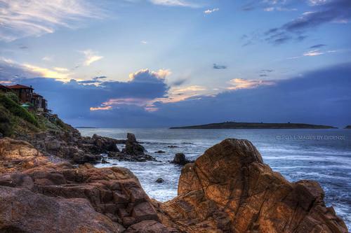 travel light sunset sky cliff clouds island seaside rocks europe cove bulgaria blacksea sozopol stivan hdrspotting didenze