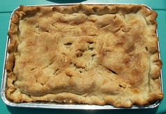dessert(0.0), pie(1.0), pot pie(1.0), baked goods(1.0), food(1.0), dish(1.0), cherry pie(1.0), cuisine(1.0), apple pie(1.0),