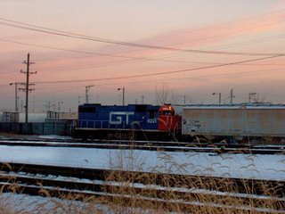 Former Grand Trunk western locomotive spotting cars on an industrial siding. Chicago Illinois. February 2007. by Eddie from Chicago