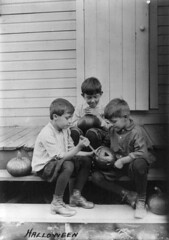 Halloween pumpkin carvers, ca. 1917