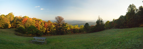 blue autumn red panorama usa mountain tree fall nature leaves yellow forest bench landscape outdoors fire leaf nc scenery picnic view unitedstates south great lawn scenic northcarolina panoramic ridge southern parkway vista recreation neat smoky appalachian stitched appalachia attraction blueridge tidy deepsouth mowed carolinas