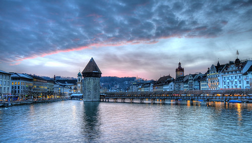 sunset sky clouds reflections schweiz switzerland europe tripod watertower luzern 2008 lucerne hdr gitzo wasserturm chapelbridge kapellbrücke reuss d300 gütsch sigma1020mm photomatix 5exp tthdr jesuitchurch toniv superhearts gt1540 ©toniv 07032008 favemoifrance