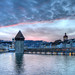 sunset over Chapel Bridge Lucerne