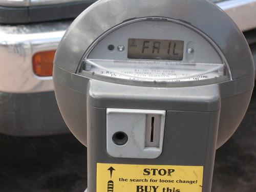 A broken parking meter
