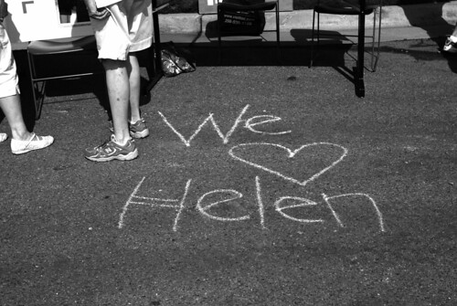 Written in front of the sign-up tables for the Fun Run, which was held in Helen's honor.   Helen was the manager of the Madison Public Library until her death earlier this year.  She was a lovely person, as well as an excellent colleague.  She is missed.