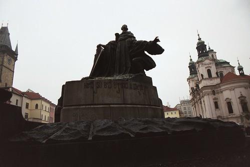 Prague 2002: giant Jan Hus Memorial statue near center of Staroměstské náměstí (Old Town Square)