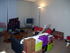Partially-Unpacked Living Room