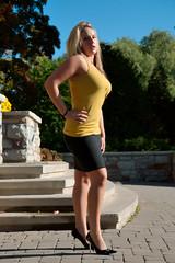 model, clothing, yellow, girl, limb, leg, fashion, female, photo shoot, lady, human body, blond, spring, thigh, beauty, dress, miniskirt,