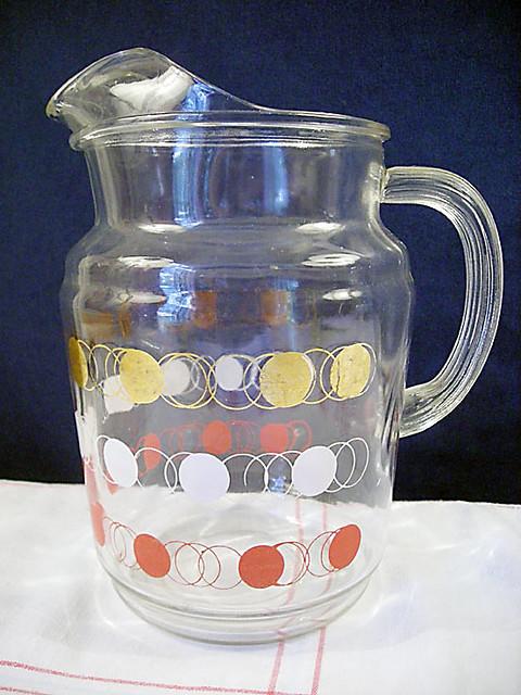 Vintage Federal Glass Red Polka Dot Ice Lip Tea Pitcher