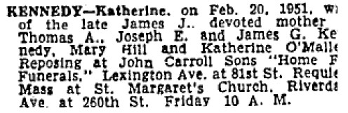 Katherine Carr (1865-1951) funeral notice