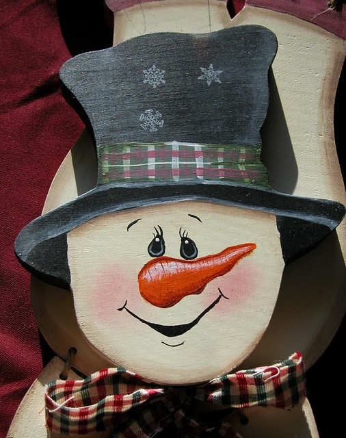 Painted snowman wooden crafts upsidedown wodden for How to paint snowmen